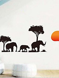 moda elefante preto sob o adesivo de parede sol vermelho