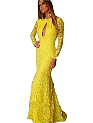 Women's Yellow Floral Sweeping Mermaid Evening Dress