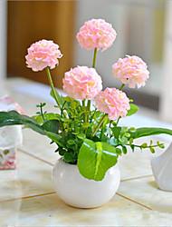 flores hygrangeas rosa artificial com vaso