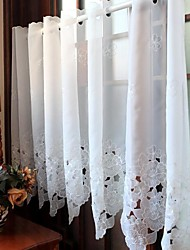 "One Panel 175cmWx87cmL(69""WX34""L)Floral /Embroidered/ Botanical Poly / Tulle Kitchen Curtain"