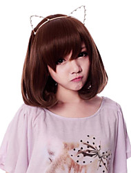 Zipper Cute Kitten Brown 35cm Short Bob Sweet Lolita Wig