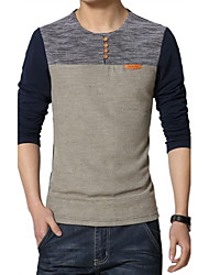 Men's Korean Slim stitching Long Sleeved T-Shirt (Cotton/Polyester)