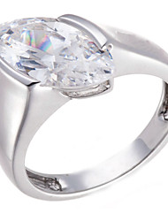 925 Sterling Silver Marquise-Cut Cubic Zirconia Engagement Ring