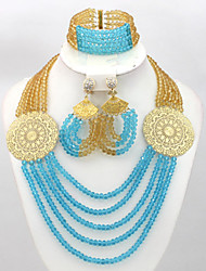 African Costume Jewelry Set Blue African Crystal Beads Jewelry Set 18K Gold Plated Jewelry Set
