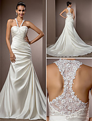 Lan Ting Trumpet/Mermaid Plus Sizes Wedding Dress - Ivory Chapel Train Halter Satin