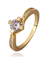 Sweet Round Shape Environmental Protection Material Alloy Setting  Zircon Ring (Gold Palting,Rose Gold Plating)(1Pc)