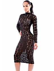 Women's Sheer Crew Neck Midi Dress