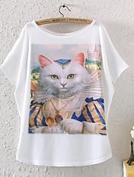 Women's Short Sleeve Batwing Animal Graphic Printed T Shirt
