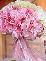 Wedding Bouquet Wedding Bride Holding Flowers,Silk Colth Simulation Hydrangea,Pink and White