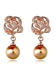 Women's European Style Fashion Rhinestone Rose Pearl Alloy Drop Earrings
