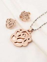Fahion Camellia Rose Gold Plated 316L Stainless Steel(Necklace&Earrings) Jewelry Set