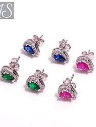 AS 925 Silver Jewelry Eight heart eight arrow match color pear shaped diamond earrings
