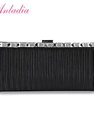 Anladia Ladies Elegant Rhinestone Pleated Satin Women Clutch Prom Handbag Evening Bag