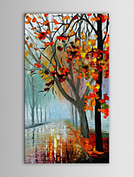 IARTS Oil Painting Modern Abstract Knife Maples Along Road Hand Painted Canvas with Stretched Frame