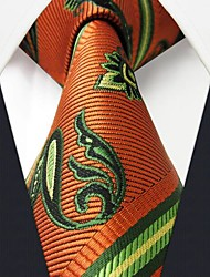 Q11 Shlax & Wing Neckties Men's Ties Orange Green Paisley Jacquard Woven