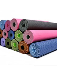Non Slip/Non Toxic Yoga Mats 6 mm Green/Purple TPE 183*61*0.6cm