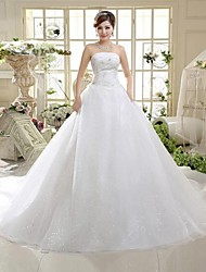 A-line Strapless Floor Length Cathedral Train Tulle Wedding Dress with Sequin Bow
