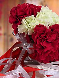 wedding bouquet de mariage mariée tenant des fleurs, colth de soie simulation hortensia, rouge et blanc
