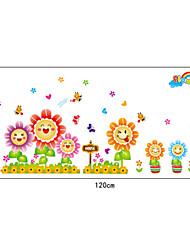 dibujos animados sonrisa valla sunflower.pvc pegatinas de pared