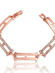 Fashion Simple Women's Rhinestone Rectangle  Rose Gold Plated Brass Chain & Link Bracelet(Rose Gold)(1Pc)