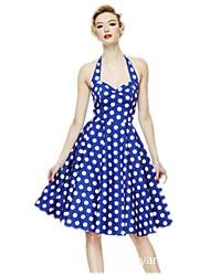 Women's Vintage Halter Polka Dot Printed Sleeveless Dress
