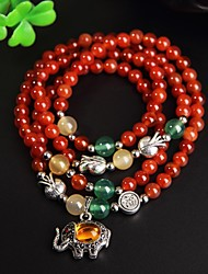 Four Round Elephant Agate Bracelet