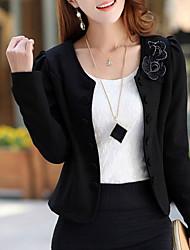 Women's Sexy Work Medium Long Sleeve Short Blazer (Cotton Spandex)