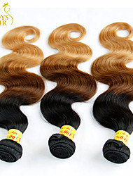 3 Pcs Lot 14-28 Ombre Malaysian Virgin Hair Extensions Body Wave Three Tone Black Brown Blonde 1B/4/27# Human Hair Weave