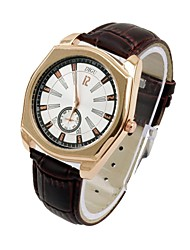 Men's Women's Leather Dress Watch Quartz Analog Water Resistant Sub-Dial Second Hand Rose Gold/Silver Case Cool Watch Unique Watch