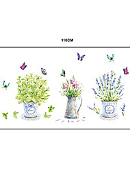 Natural Colorful Potting Butterflies PVC Wall Stickers