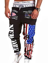Мужской Мужской На каждый день / Для занятий спортом Тренировочные брюки С принтом , Смесь хлопка