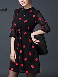 Women's Dress , Polyester Mini ½ Length Sleeve