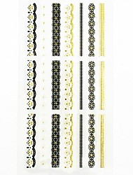 1PC 3D Gold Nail Art Stickers Lace Nail Wraps Nail Decals French Tips Nail Polish Decorations