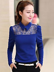 TS Women's Simplicity/Work/Cute Micro-elastic Lace Splicing Slim OL T-shirt