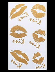 1PC Gold Tattoos Sexy Lips Kiss Temporary Tattoos Flash Tattoos Metallic Tattoos Wedding Party Tattoos(20.5*10cm)