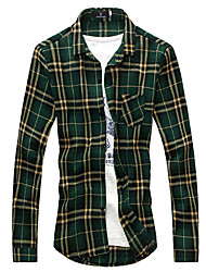 XIBIN Men's Check Print Shirt