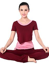Mujer Yoga Trajes Mangas cortas Rojo / Rosa / Negro / Azul / Morado / Borgoña Yoga S / M / L / XL