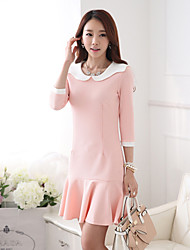 Women's Sweety Ruffle Hem Dot Collar Sheath Dress
