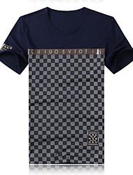 Herren T-shirt-Druck Freizeit Baumwolle Kurz-Blau / Rot / Weiß