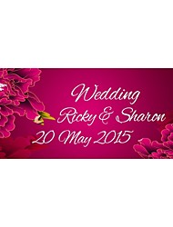 Personalized Wedding Product Labels Flower Pattern Fuchsia Film Paper