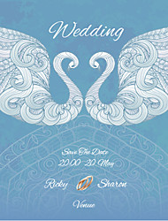 Personalized Wedding Invitations Swan Pattern Save The Date Paper Card 13.5cm x 13.5cm 50pcs/Set