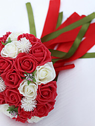 A Bouquet of 30 PE Simulation Red and White Roses Wedding Bouquet Wedding Bride Holding Flowers,Purple and White
