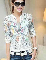 vendimia medio-largo chaqueta de manga larga lindo ocasional de las mujeres