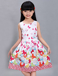Girls Fashion Butterfly Print Sundress Party Birthday Princess Lovely Kids Clothes Princess Dresses(100% Cotton)
