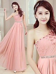 Formal Evening Dress - Ruby / Pearl Pink Plus Sizes A-line One Shoulder Floor-length Chiffon