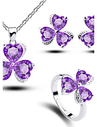 Women's Purple Zircon Jewelry Sets Clover Handmade Jewelry Sets