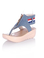 Women's Shoes Flip flops Wedge Heel Denim Sandals with Zipper Shoes More Colors available