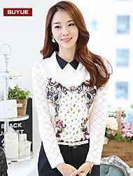 Women's Shirt , Print/Lace/Work Long Sleeve