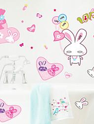 parede adesivos de parede decalques, estilo de coelho rosa parede pvc adesivos