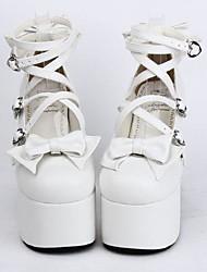 Sapatos Doce Cadarço Salto Alto Sapatos Laço 12.5 CM Branco Para Feminino Couro PU/Couro de Poliuretano